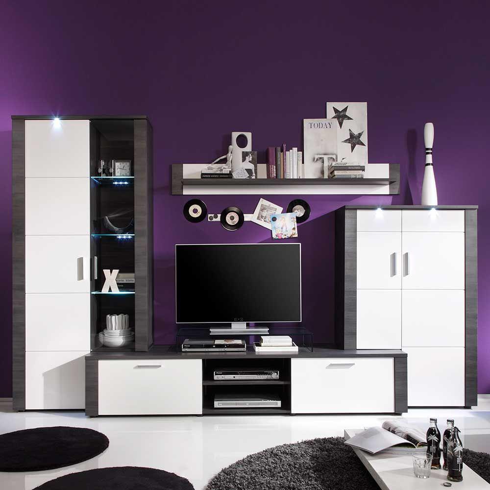 Wohnzimmer Anbauwand In Esche Grau Weiß (4 Teilig) Jetzt Bestellen Unter:  Https