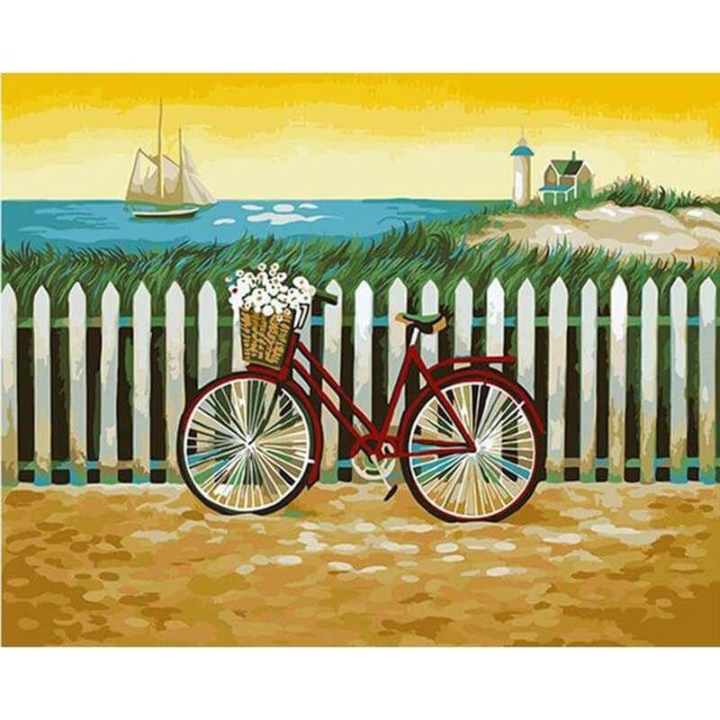 Malen Nach Zahlen Fahrrad Am See Malen Nach Zahlen Acrylmalerei Leinwand Und Leinwandbilder Wand