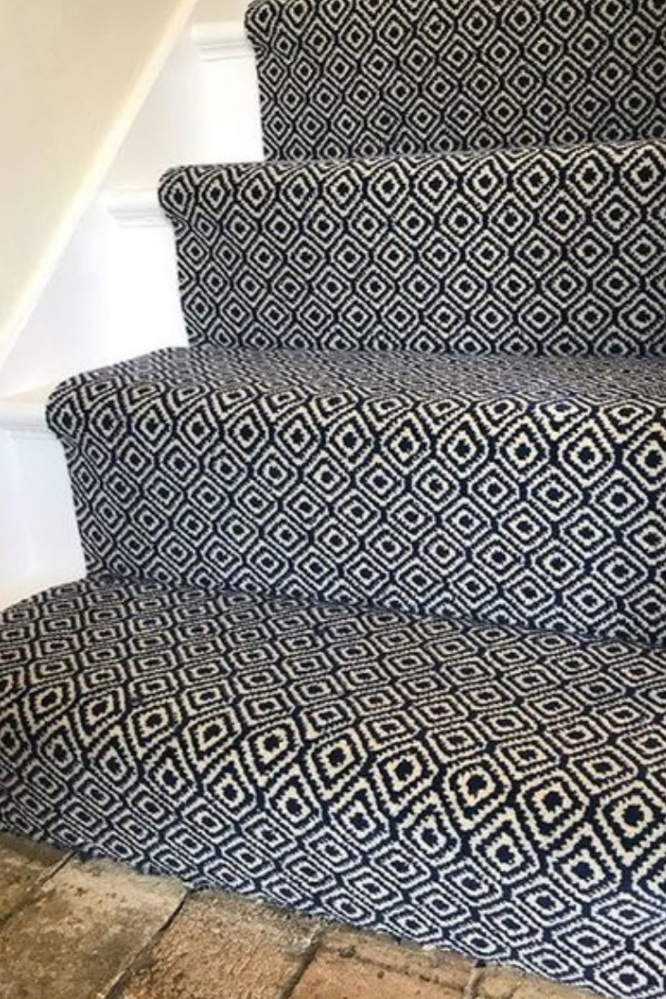 Our Quirky Tess Blue Wilton Runner Really Adds Interest To A Plain Stair Supplied Installed By Carpet Comfort In D Alternative Flooring Carpet Carpet Runner