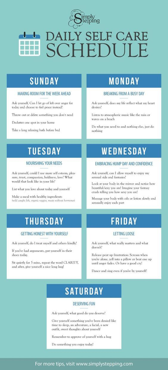Make each day a day for Self Care. Use the Daily Self Care Schedule to reconnect with nurturing your self on a daily basis.