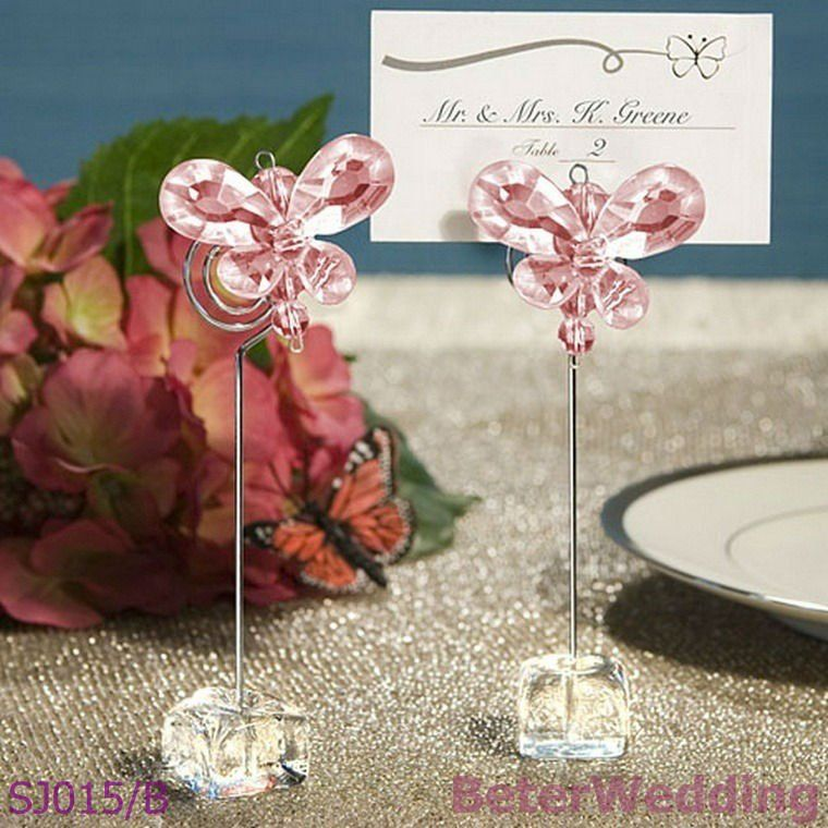 Exquisite Pink Crystal Butterfly Place Card Holders Wholesale Wedding Supplies Discount Favors Party