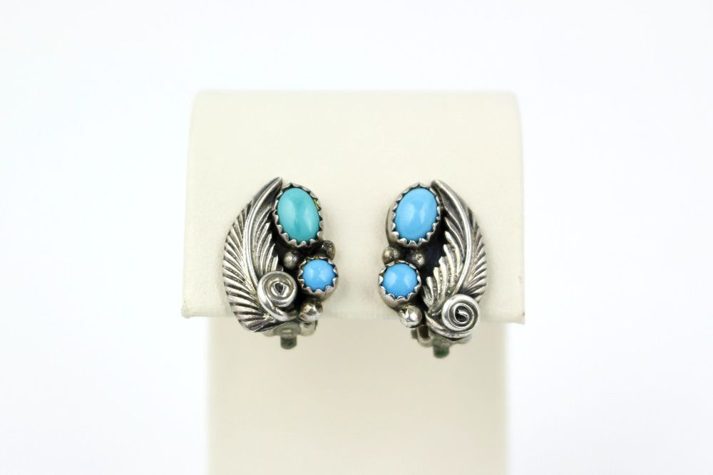 Bobby Johnson Navajo Sterling Silver Turquoise Clip On Earrings Ebay Link