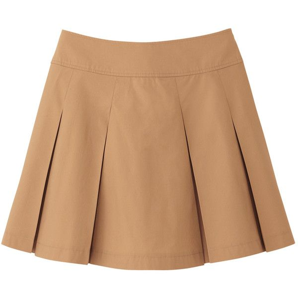 UNIQLO Women Cotton Mini Skirt ($3.90) ❤ liked on Polyvore featuring skirts, mini skirts, bottoms, saias, faldas, beige skirt, cotton skirt, short skirts, short miniskirt en short pleated skirt