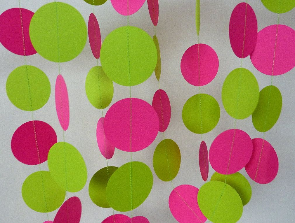 Paper Garland, Pink and Green Birthday Decoration, Bright Girls Party ...