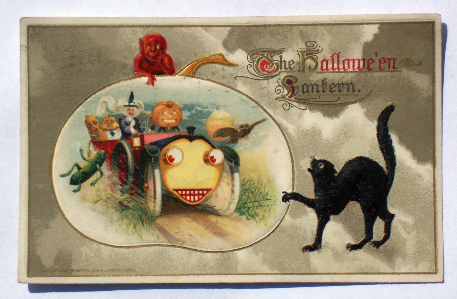 Halloween Postcard 1914 The Halloween Lantern