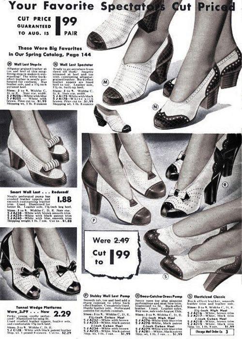 700ccd2a ZAPATOS BICOLOR creados por Coco Chanel. Publicidad de los años 40 ...