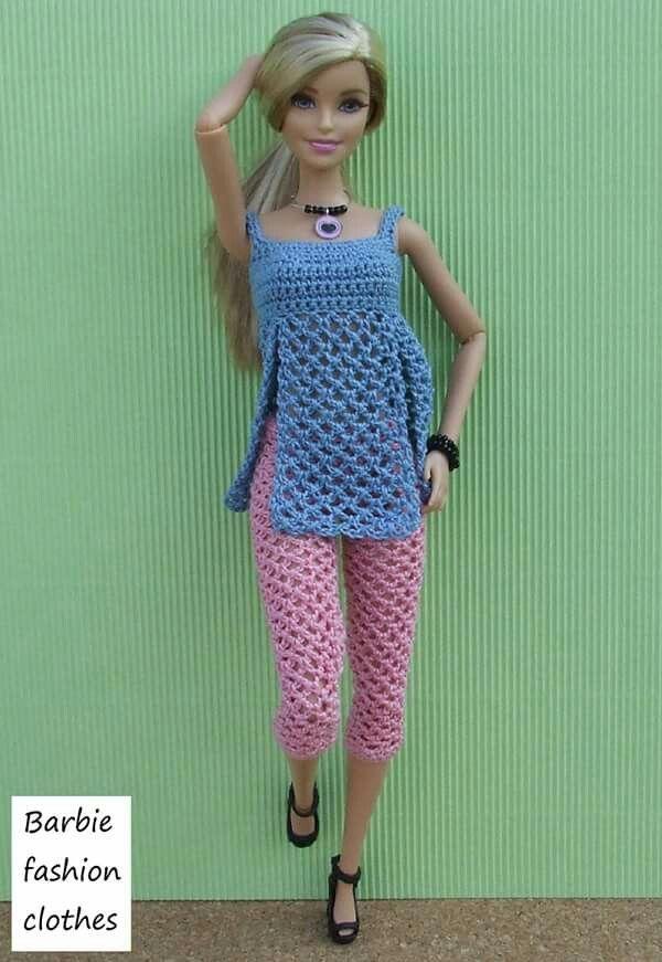 Blue & pink | Crochet | Pinterest | Puppenkleider, Barbie und Barbie ...