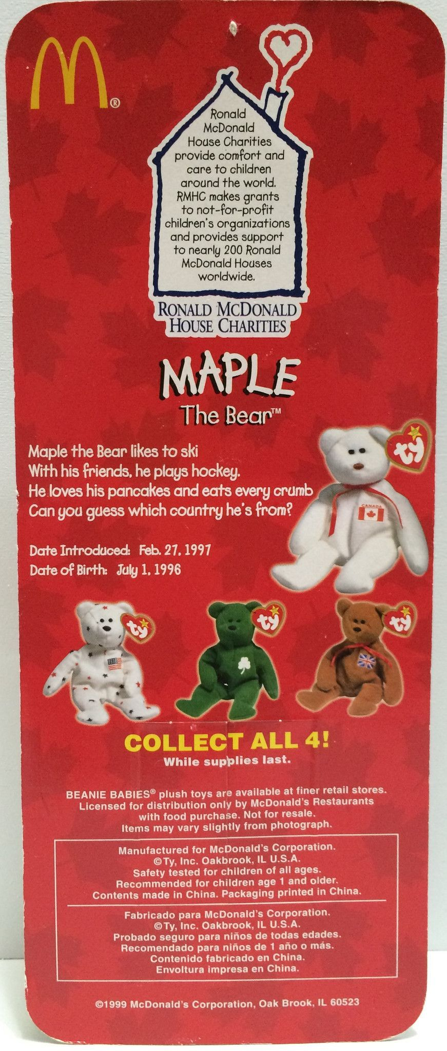 TAS030427) - 1999 McDonald s TY Beanie Babies - Maple The Bear  bbc2607dc9d