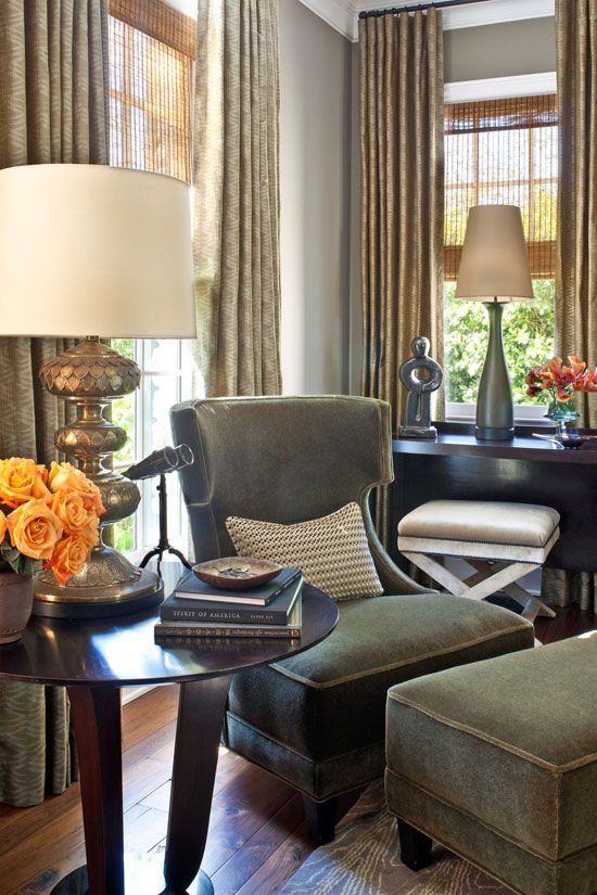 Plush lounge chairs from Baker lend elegance to the living room - Traditional Home®