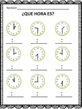 Que Hora Es? Telling Time in Spanish to the Hour and Half Hour (FREE ...