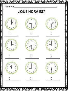 Time in Spanish: La Hora, Que Hora Es? 2 Practice Worksheets | TpT
