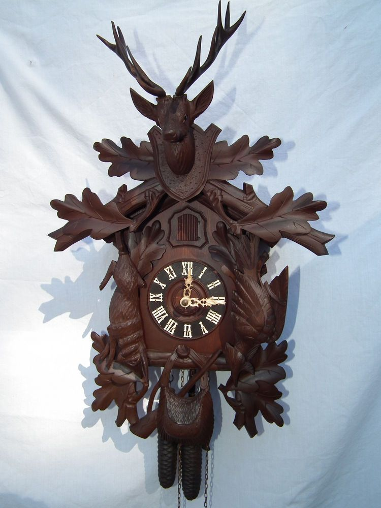 german cuckoo clock antique black forest hunter bone hands - Black Forest Cuckoo Clocks