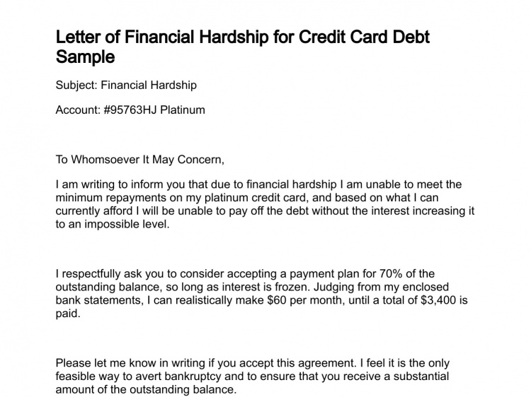 Financial Hardship Letter Lettering, Sample resume
