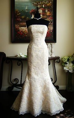Authentic Maggie Sottero Phillipa J1091 Lace Light Gold Fit Flare Wedding Dress On Ebay