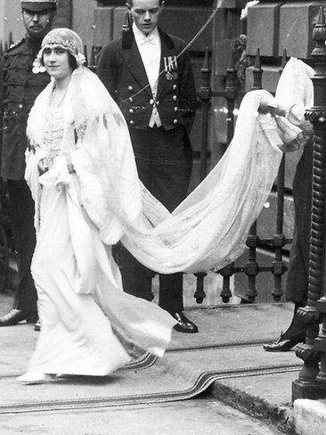 Elizabeth Bowes Lyon The Queen Mother 1923 Her Flapper Style Dress Widely Considered To Be Unflatt Royal Wedding Gowns Queen Mother Royal Wedding Dress