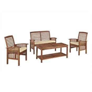 Admirable 4 Piece Acacia Wood Outdoor Patio Conversation Set With Machost Co Dining Chair Design Ideas Machostcouk