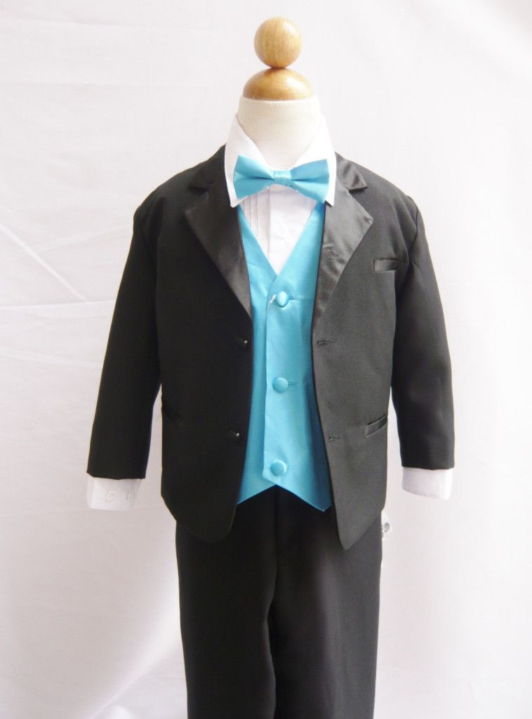 73801738d Wallao.com - Boy Tuxedo Black with Turquoise Vest for Ring Bearer Bow Tie  Easter