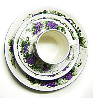 35 Pc Set Of Dishes Purple Grape Pattern Totally Today  sc 1 st  Pinterest & 35 Pc Set Of Dishes Purple Grape Pattern Totally Today | China ...