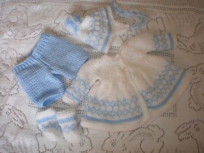 Hand Knitted Preemie Baby 15 Inch Doll S Outfit Ooak