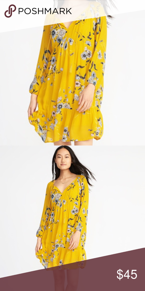 c784f7cbd82 Yellow floral long sleeve dress Adorable yellow dress with floral print  from old navy. Only worn a few times. Received many compliments. Old Navy  Dresses ...