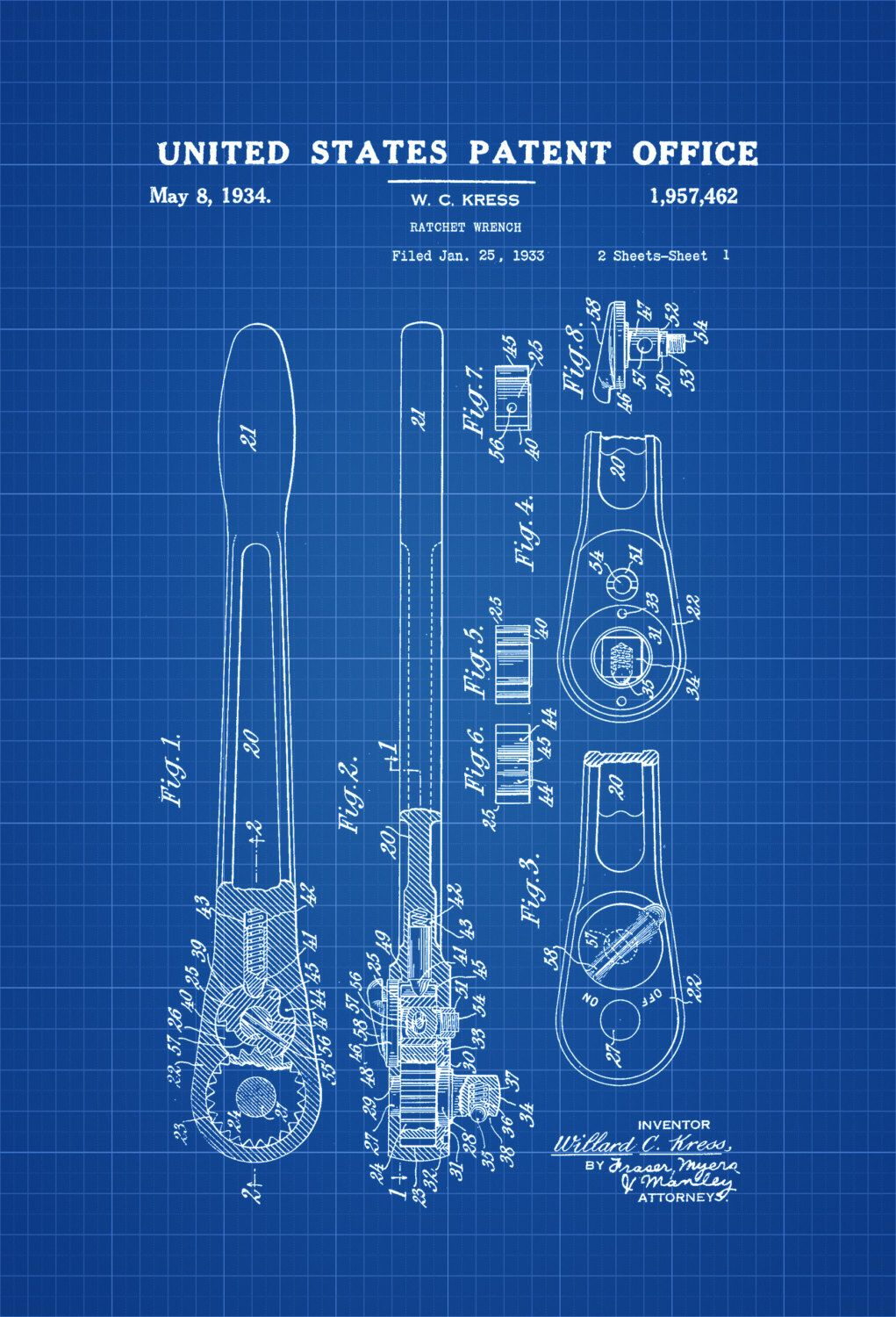 Ratchet Wrench Patent – Patent Print, Wall Decor, Office Decor ...