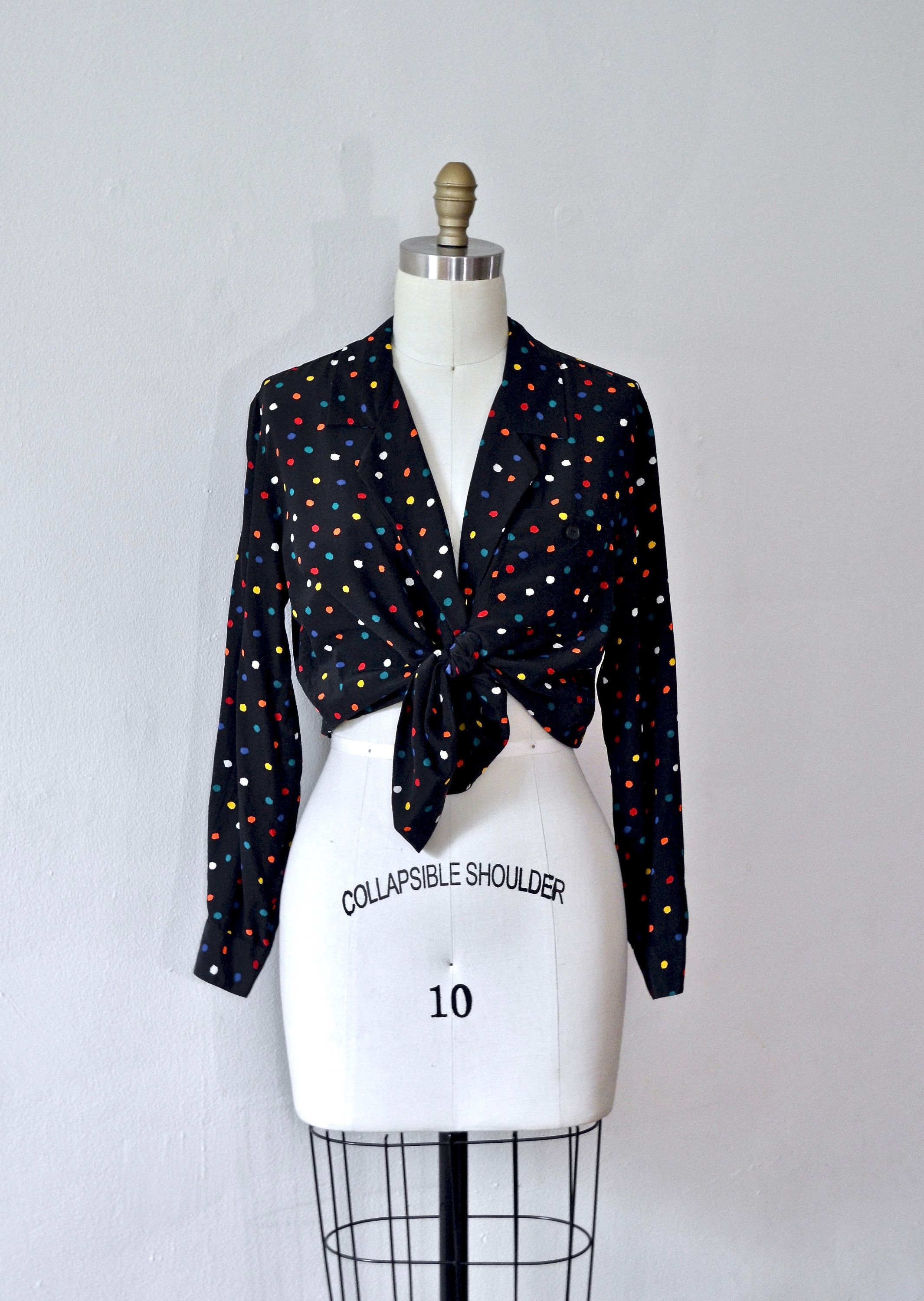 0a39fe02f6974c Vintage 1980s Christian Dior 'City of Light' Silk Blouse with Rainbow Polka  Dots // medium- large