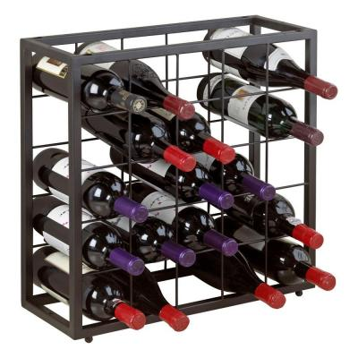 Wine Enthusiast Steel 25-Bottle Stackable Grid in Black-631 25 01 - The Home Depot