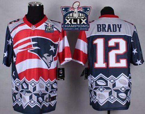 Nike Limited Mens Tom Nike Patriots 12 Tom Brady Navy Blue Super Bowl XLIX  Champions Patch Mens Stitched NFL ... 8299a3faa