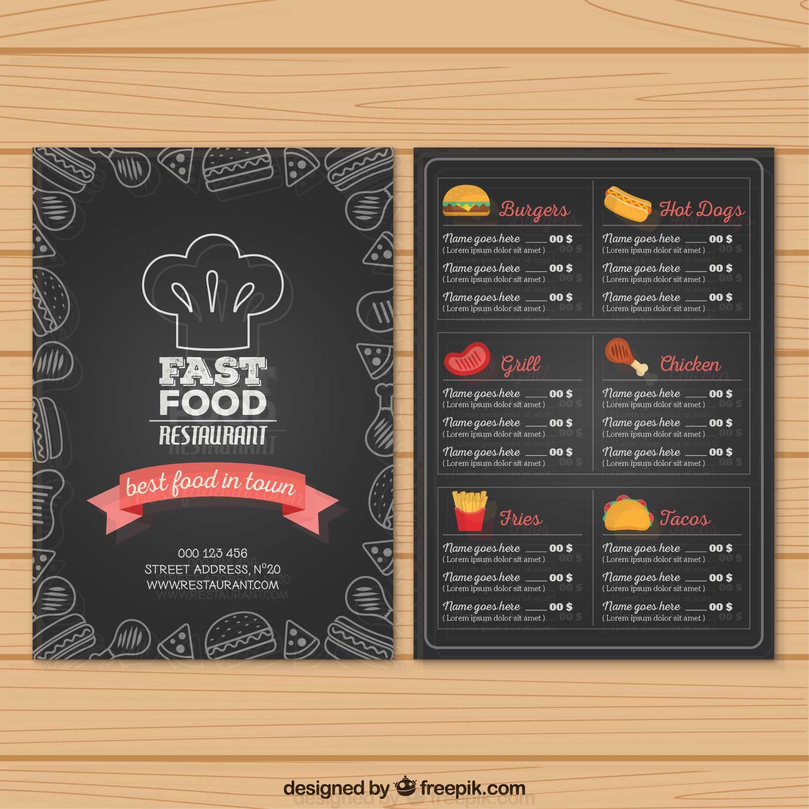 Hand Drawn Fast Food Menu In Blackboard Style Free Fast Food Menu Food Truck Menu Food Menu Design