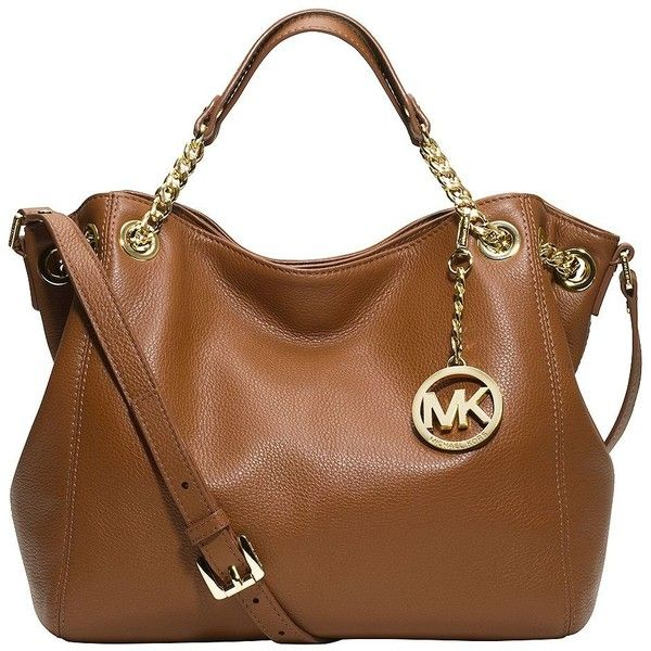 MICHAEL MICHAEL KORS Jet Set Leather Medium Shoulder Tote (5,455 MXN) ❤ liked on Polyvore featuring bags, handbags, tote bags, purses, accessories, bolsas, luggage, brown leather tote bag, leather man bags and leather shoulder tote