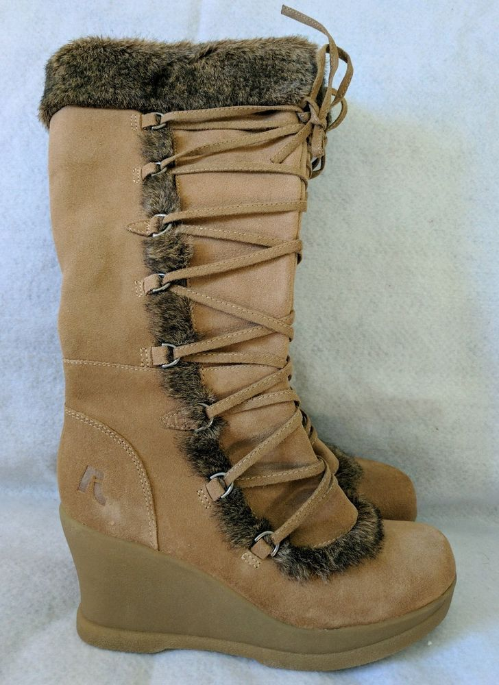 Report Kenai Suede Faux Fur Trim Knee High Lace-Up 7.5 Brown Wedge Heel  Boots