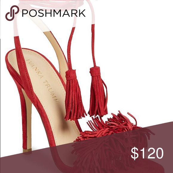 Ivanka Trump Red Fringe sandals Worn once | Perfect Condition | Ivanka  Trump Shoes Heels