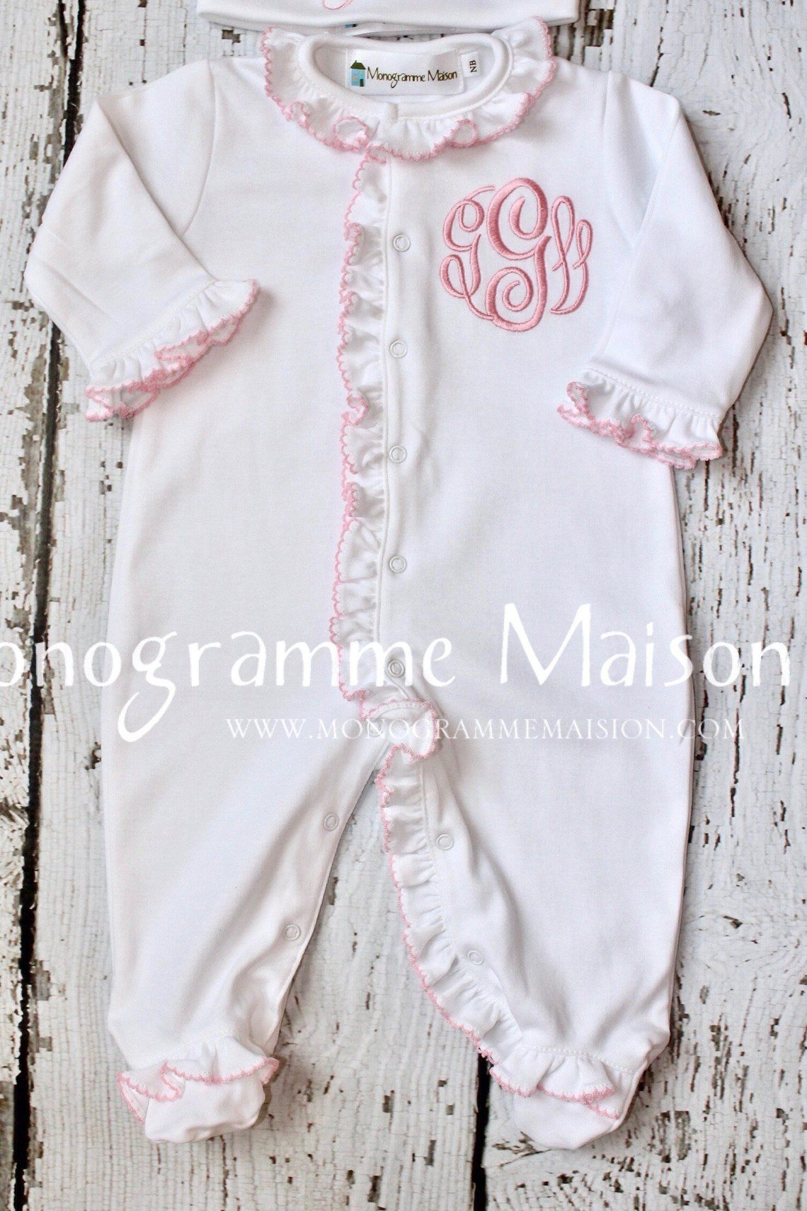 Photo of Baby Girl Coming Home Outfit – Newborn Baby Girl Outfit – Personalized Baby Gift – Monogrammed Baby Girl Ruffled Footie – Pima Cotton