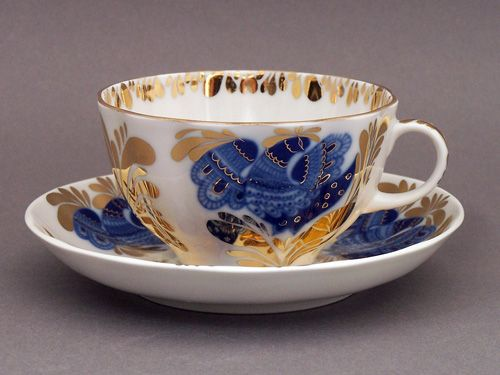 GOLDEN GARDEN TEA CUP AND SAUCER Lomonosov Porcelain Factory.
