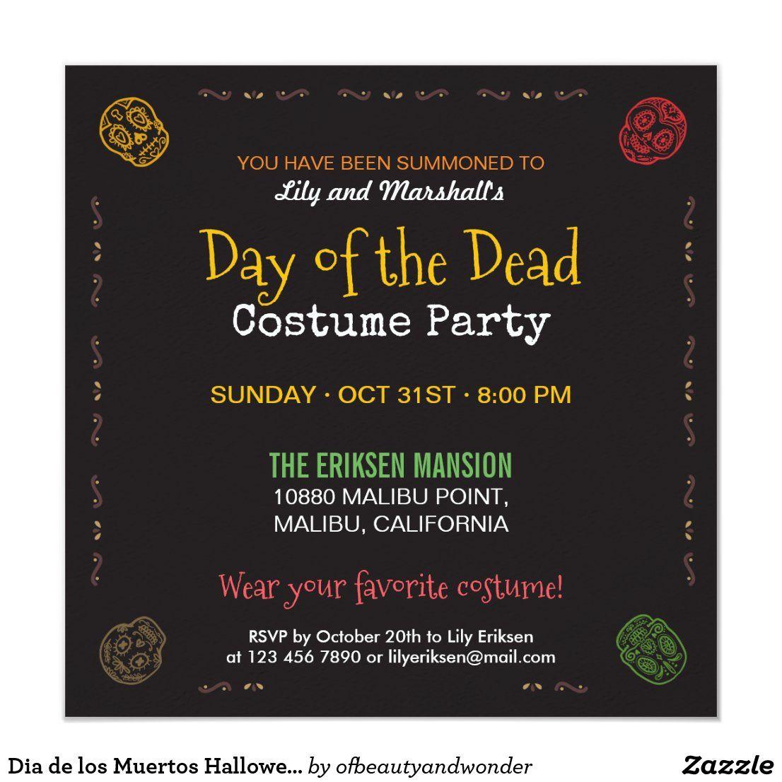 Dia De Los Muertos Halloween Party Invitation In 2020 Halloween Party Invitations Dia De Los Muertos Halloween Party Costumes