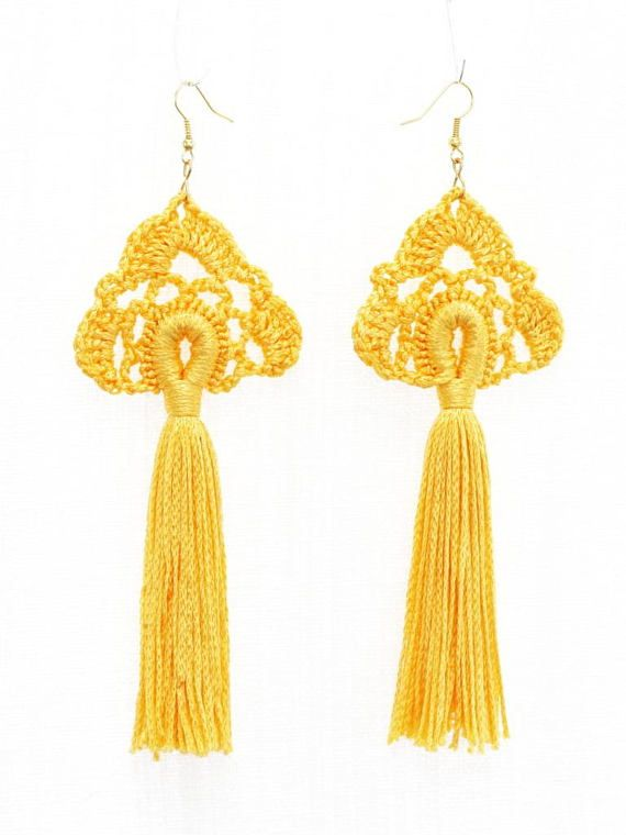 Tassel earrings Crochet jewelry Long dangling earrings Yellow ...