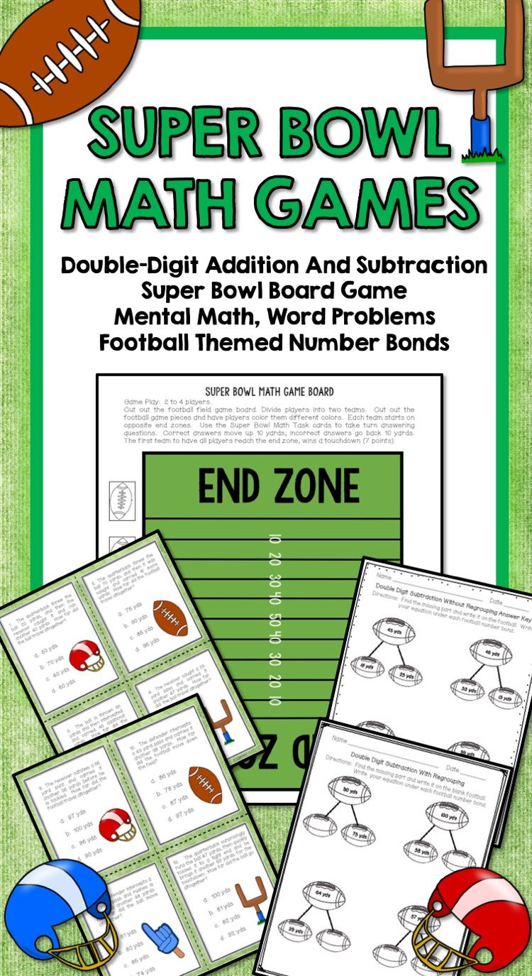 Football Games Double Digit Add, Subtract, Games and Board, Number ...
