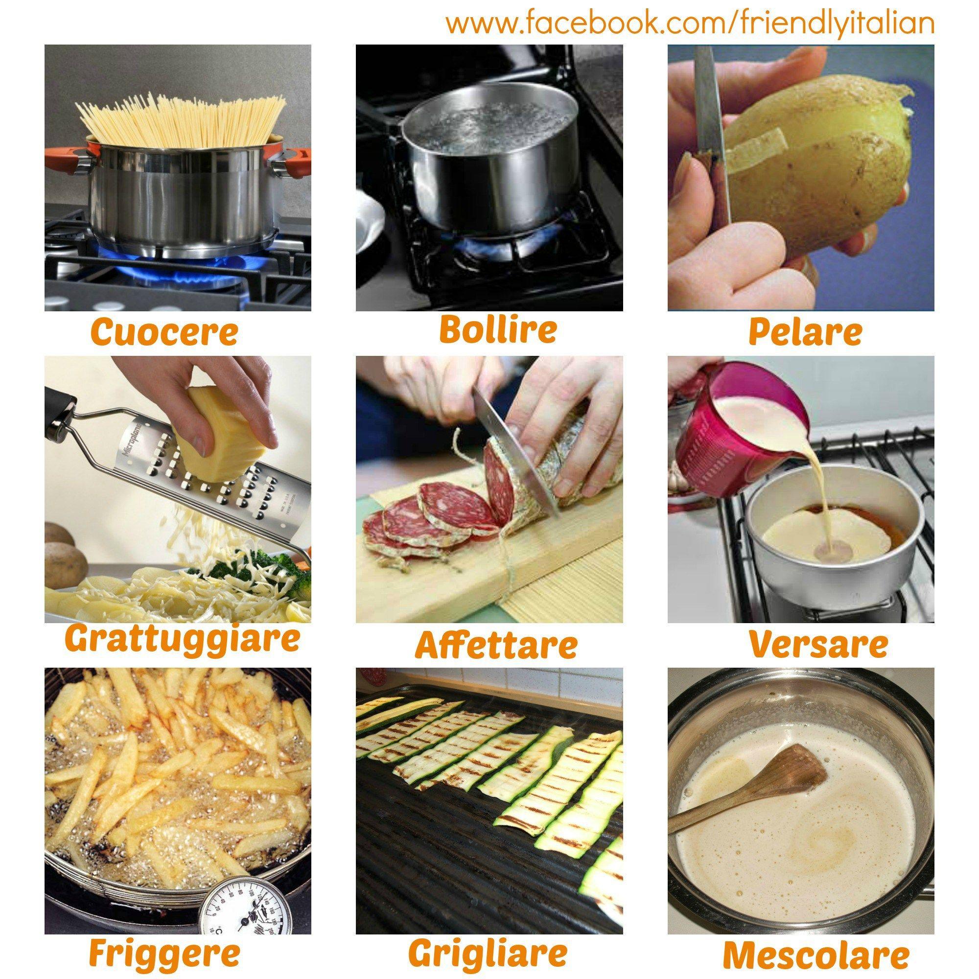 Collage verbi cucina cibo cibo italiano e ricette for Cucinare 8n inglese