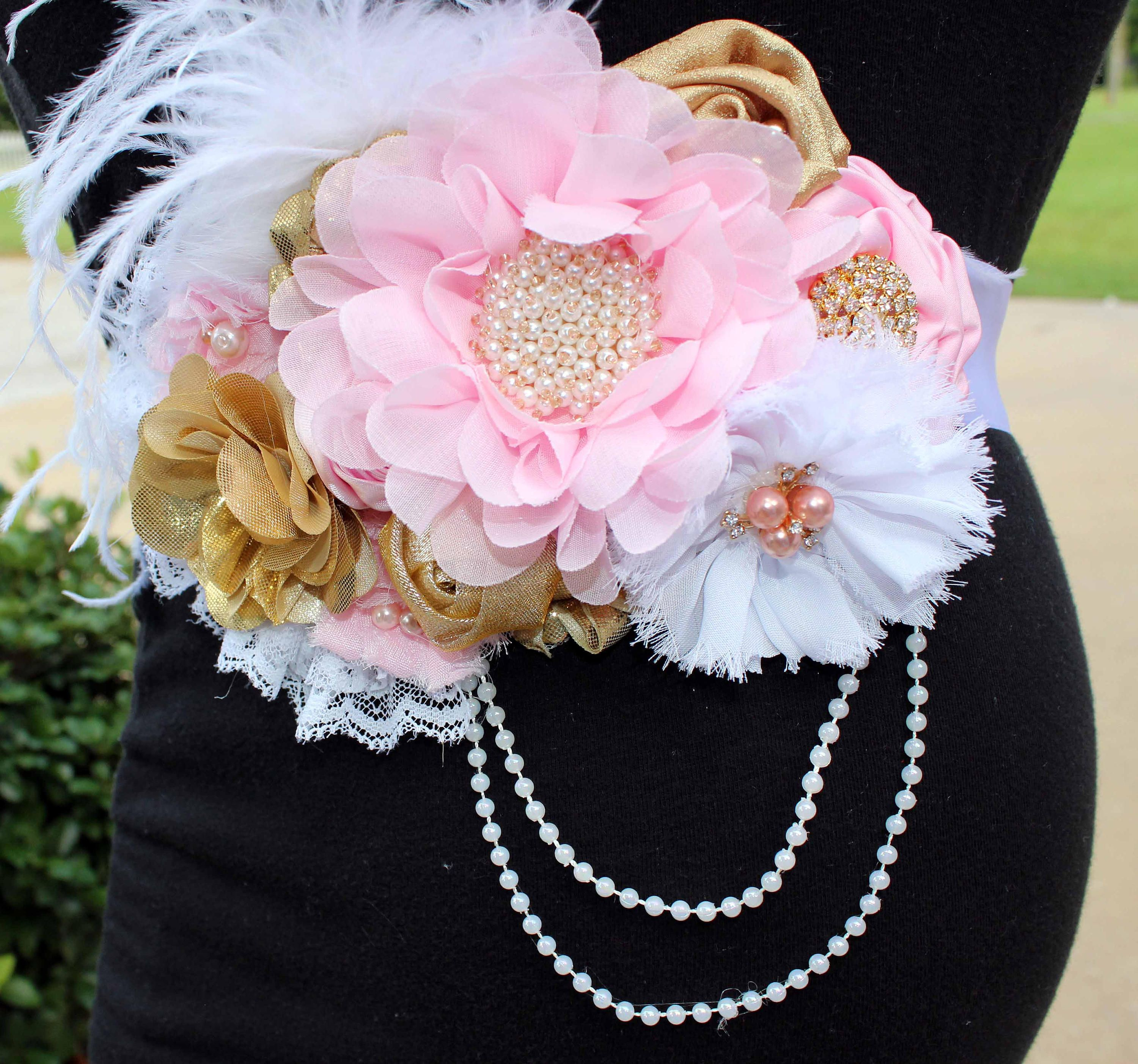Maternity Sash Pink /& Gold Princess Minnie Mouse Baby Shower Mommy Floral Sash