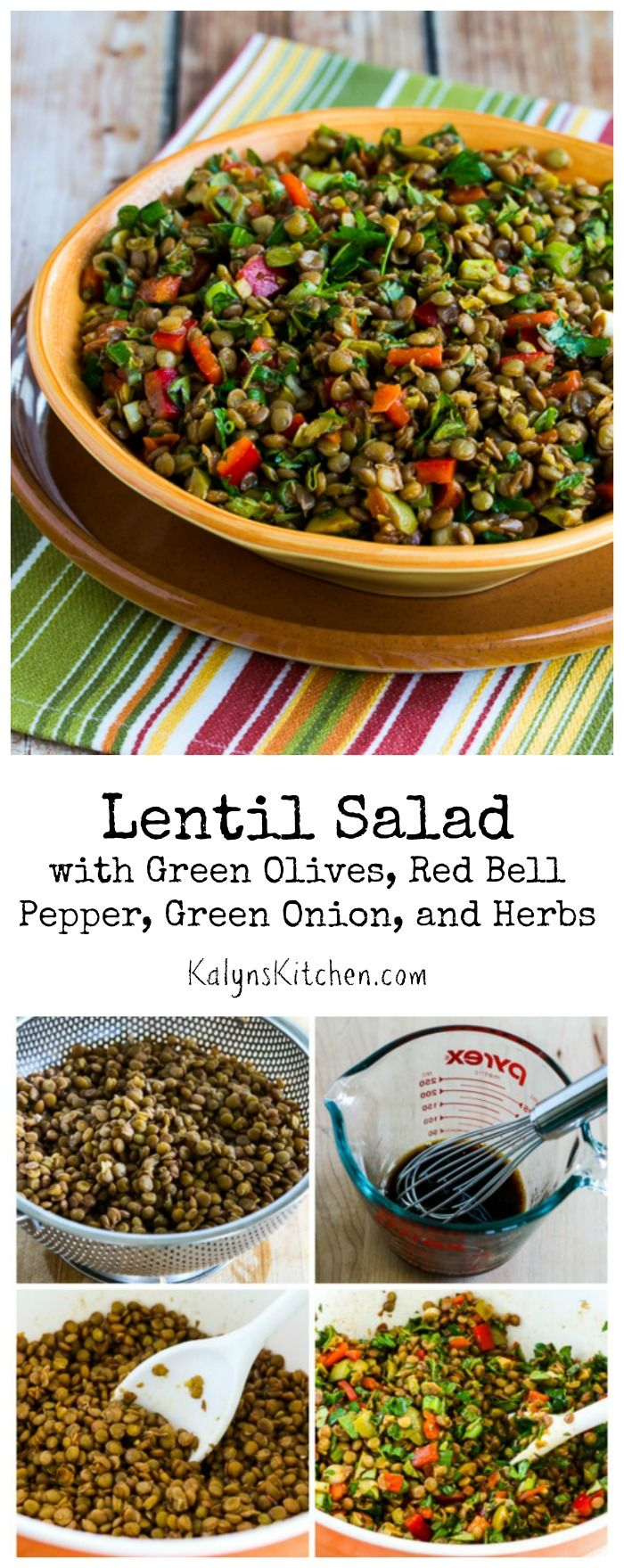 If you're looking for a salad that will be something new for a summer holiday party or picnic, this Lentil Salad with Green Olives, Red Bell Pepper, Green Onion, and Herbs is delicious! The salad can be eaten cold or at room temperature, and it's #Vegan and #Gluten Free. [from KalynsKitchen.com]