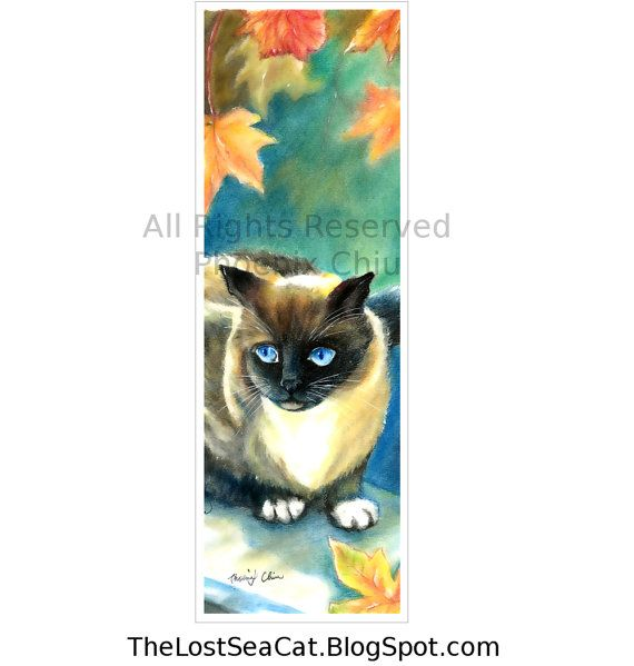 Siamese Cat Art Bookmark From Original Painting by by phoenixchiu