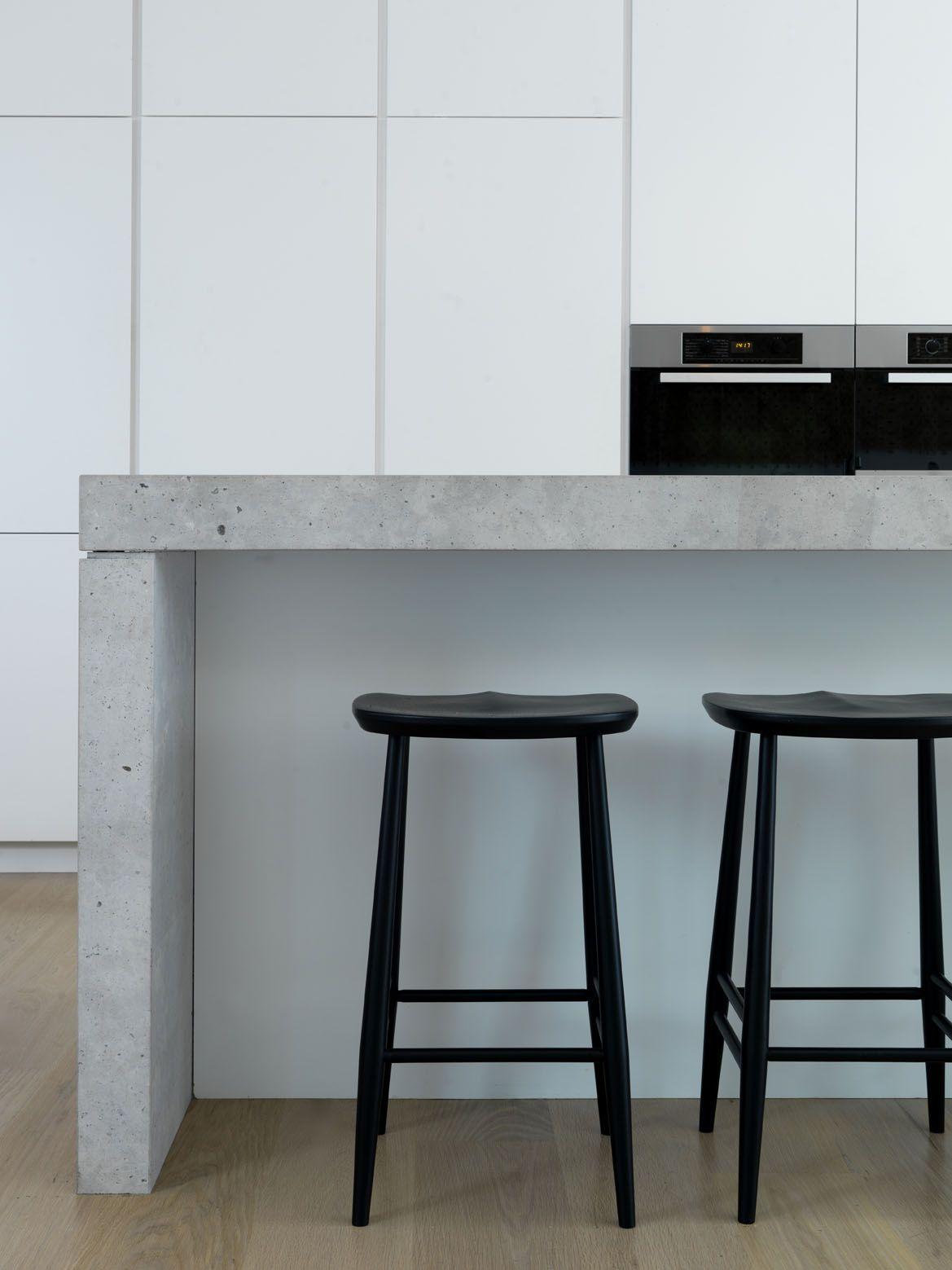 white kitchen witch concrete counter top - BONDI BEACH PAD ...