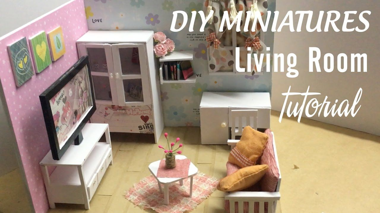 Diy Dollhouse Miniature Living Room Diy Furniture Set Tutorial Full Video Diy Living Room Furniture Dollhouse Living Room Dollhouse Living Room Furniture
