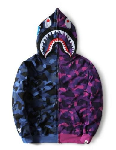 598e2c502c07 New-Men-039-s-camo-Bape-Shark-Jaw-Full-Hoodie-full-Zipper-Aape-Jacket-APE -Coat