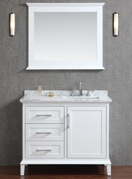 42 Inch Single Sink White Bathroom Vanity Set With Mirror White