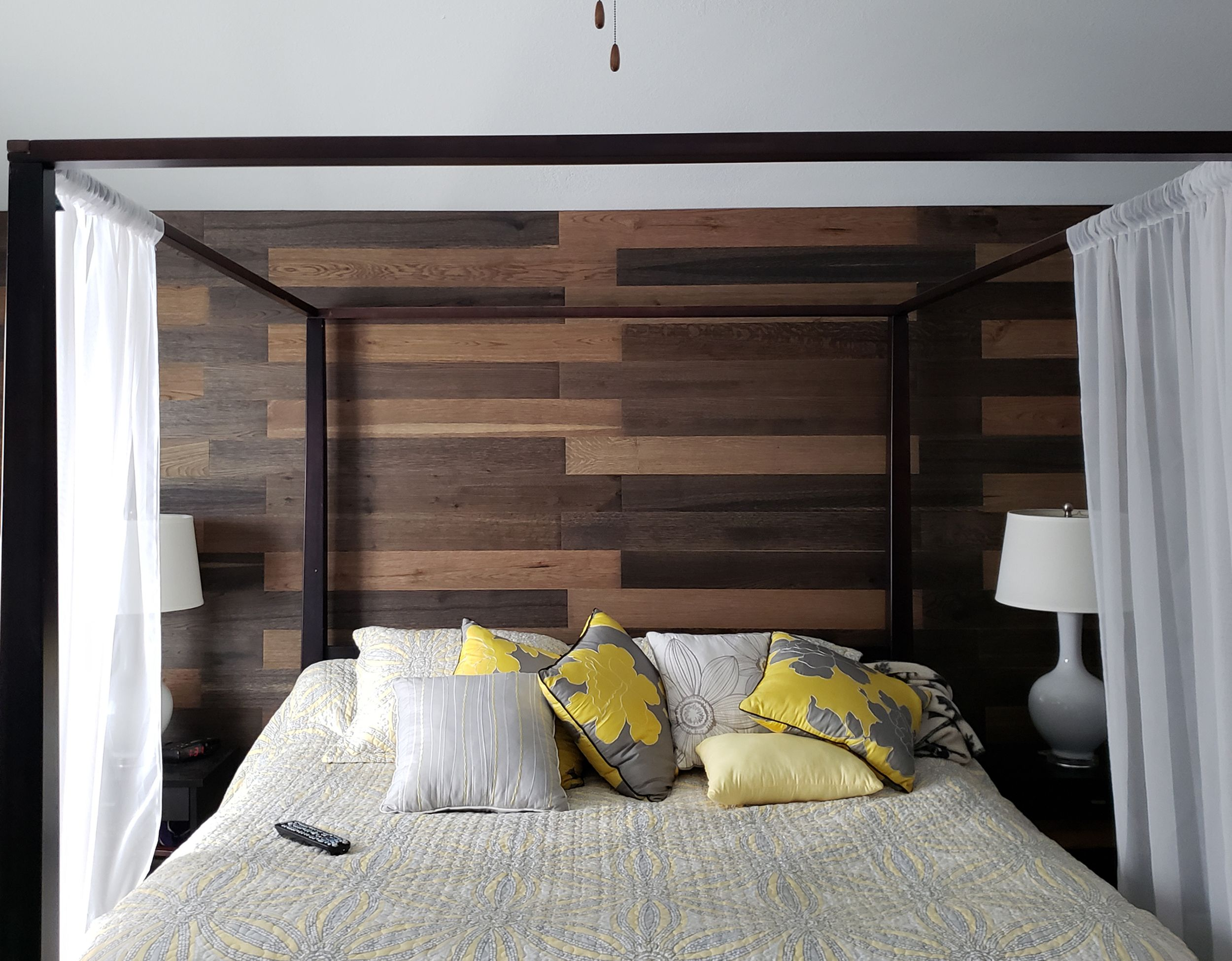 Peel And Stick Wood Wall Planks Behind Bed In Master Bedroom Accent Wall Dark Rustic Hardwood Panels Master Bedroom Accents Stick On Wood Wall Rustic Hardwood