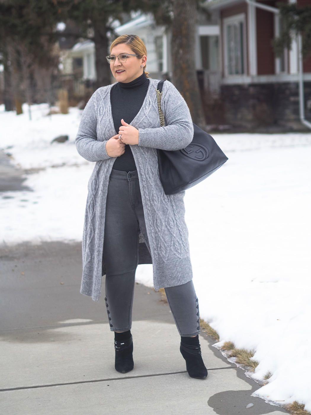 08ead9b8b All grey outfit, skinny jeans, Gucci, cardigan, knitwear, winter fashion,  plus size, curvy fashion blogger, over 40 fashion,