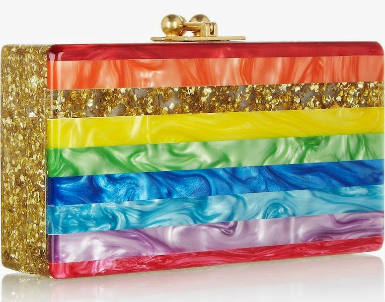 175fa5d202 Rainbow of the Week: Edie Parker Jean Rainbow Stripe and Gold Glitter Acrylic  Clutch