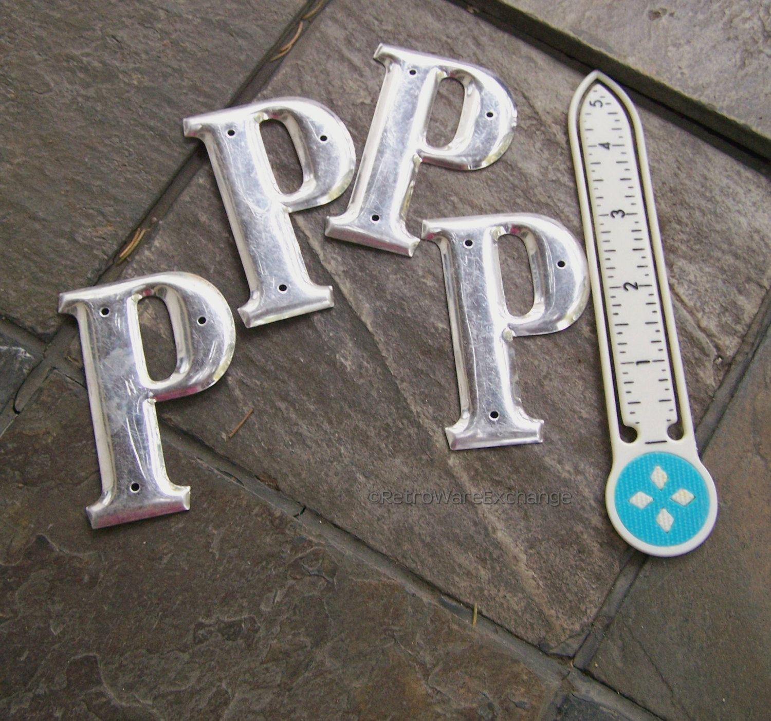 3 Inch Metal Letters Vintage 3 Inch Metal Letter  Letter P  Shiny Silvertone Finish