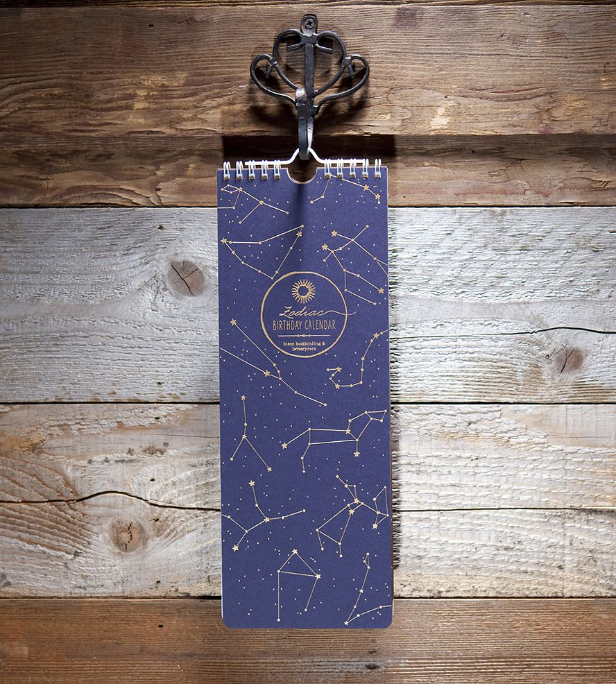 Zodiac Birthday Calendar | Gifts Cards & Stationery | Bison Bookbinding & Letterpress | Scoutmob Shoppe | Product Detail